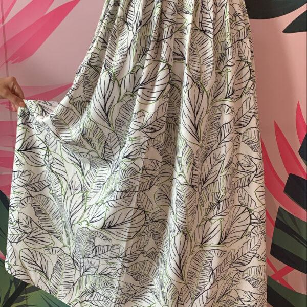 maxi falda larga materna color blanco con estampado de hojas - ropa gallardo - ecuador