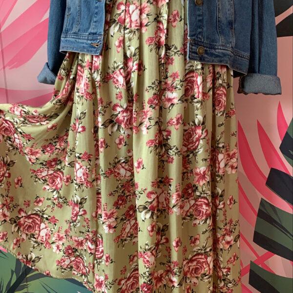 maxi falda materna verde con estampado de flores - ecuador - ropa gallardo