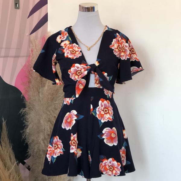 jumper azul marino con rosas anaranjadas - ecuador - ropa gallardo