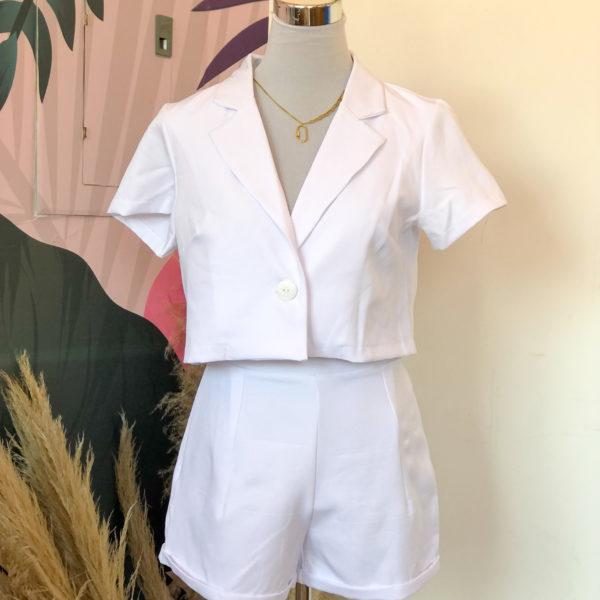 set de blazer y short en color blanco - ecuador - ropa gallardo