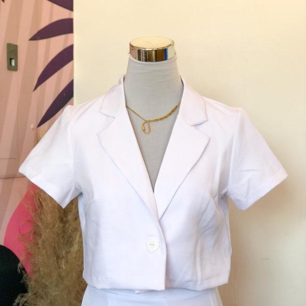 blazer corto blanco de mangas cortas - ecuador - ropa gallardo
