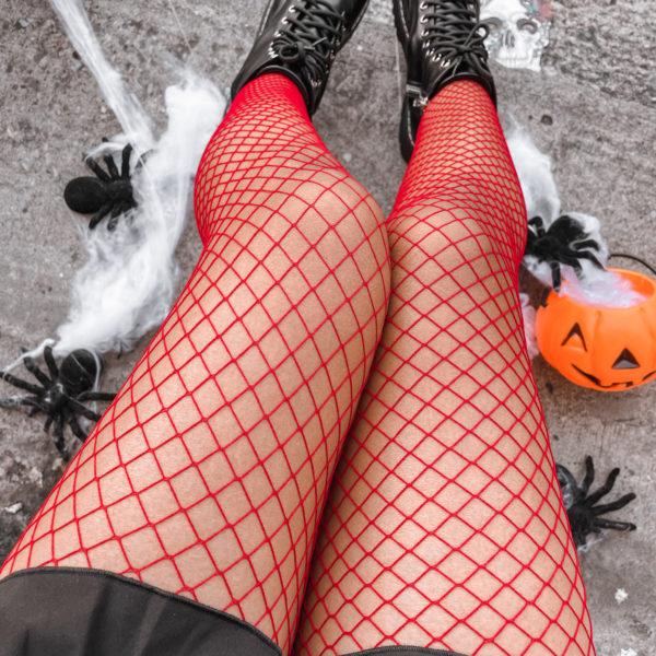medias de red color rojo - ecuador - halloween. ropa gallardo