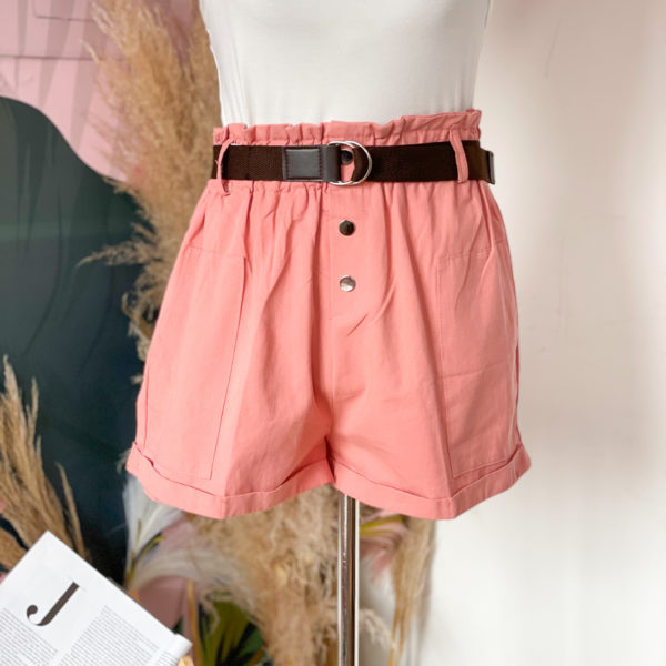 short rosado con cinturón café - ropa gallardo - ecuador