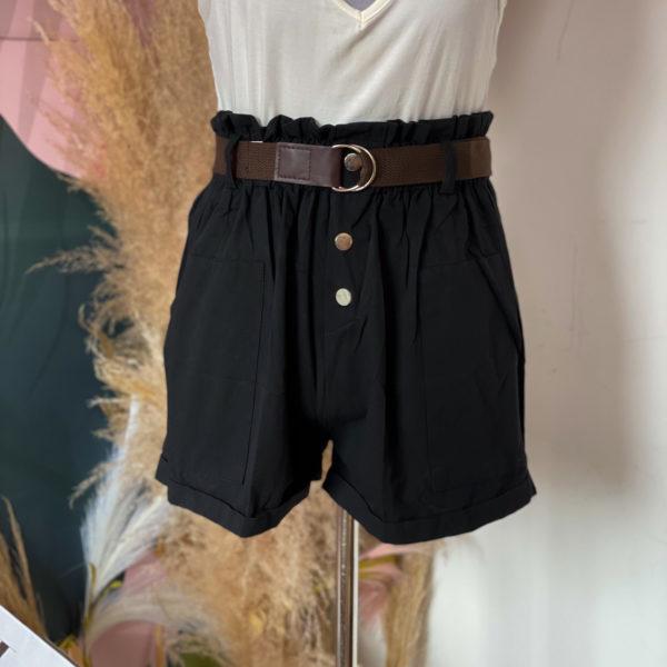 short negro con cinturón café - ropa gallardo - ecuador