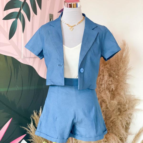 set de blazer y short azul - ropa gallardo - ecuador