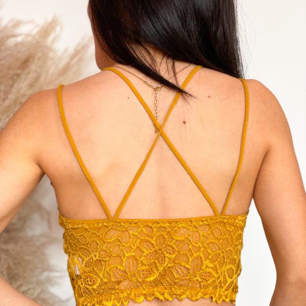 bralette amarillo con transparencias - ecuador - ropa gallardo