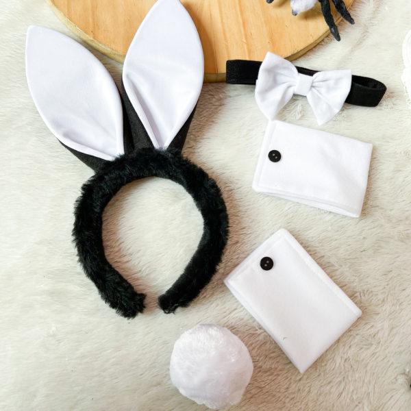set de halloween diadema, corbata, muñequeras y pompon en color negro - ropa gallardo - ecuador - halloween